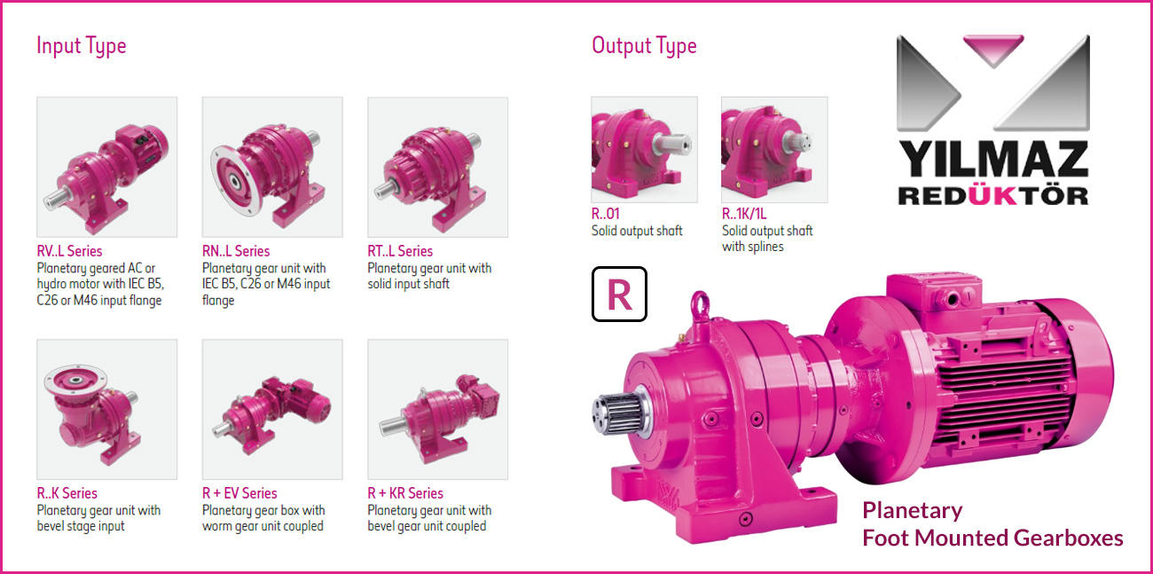 R-Series Planetary, Foot Mounted Gearboxes